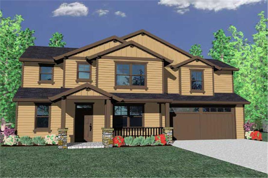 This is a 3D Computer rendering for these Craftsman House Plans.