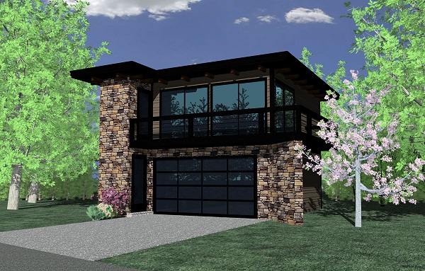 Modern Garage Apartment Plan 2 Car 1 Bedroom 615 Sq Ft