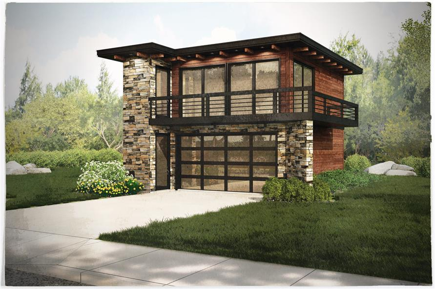 Garage w apartments with 2 car 1 bedrm 615 sq ft plan for Single story garage apartment