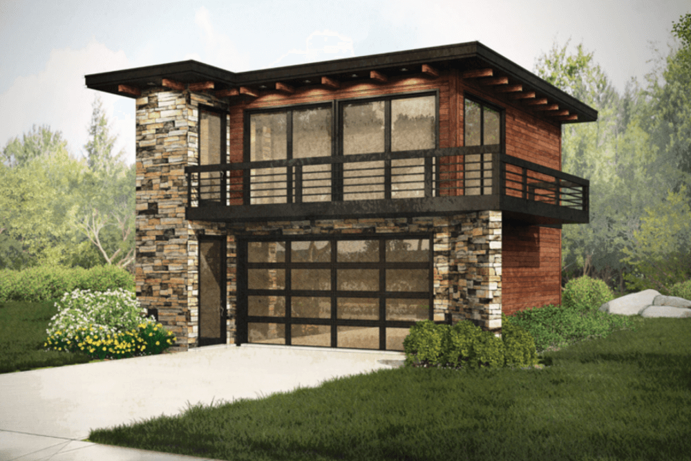 Garage W Apartments With 2 Car 1 Bedrm 615 Sq Ft Plan