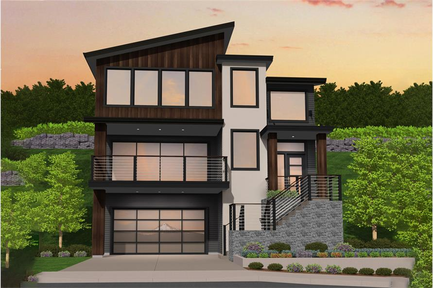 4-Bedroom, 3033 Sq Ft Contemporary House Plan - 149-1841 - Front Exterior