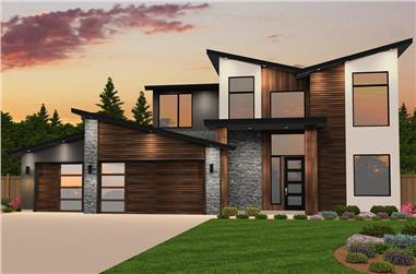 4-Bedroom, 2877 Sq Ft Contemporary House Plan - 149-1842 - Front Exterior