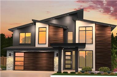 4-Bedroom, 2402 Sq Ft Contemporary Home Plan - 149-1850 - Main Exterior