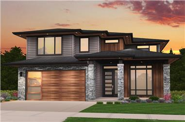 4-Bedroom, 2387 Sq Ft Contemporary House Plan - 149-1856 - Front Exterior
