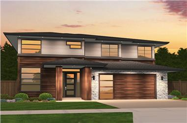 5-Bedroom, 2980 Sq Ft Contemporary House Plan - 149-1865 - Front Exterior