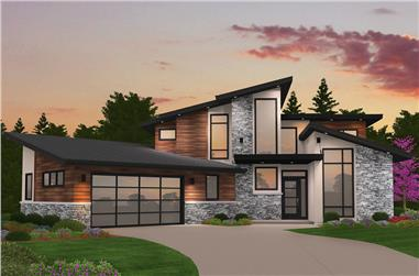 4-Bedroom, 2673 Sq Ft Modern Home Plan - 149-1869 - Main Exterior
