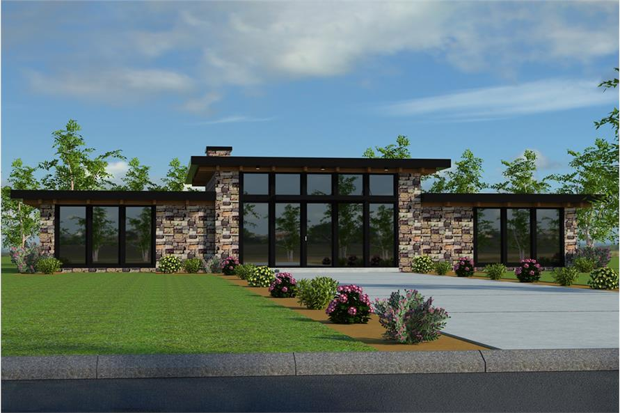 2-Bedroom, 1730 Sq Ft Modern House Plan - 149-1873 - Front Exterior