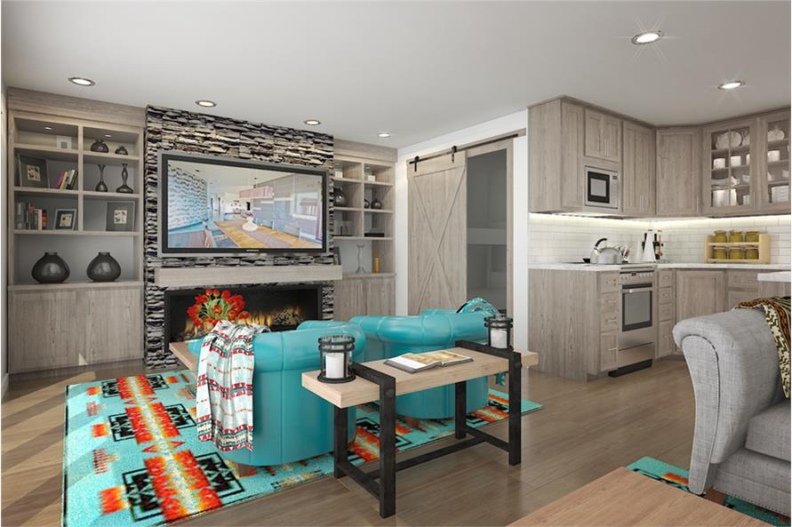Living Room of this 2-Bedroom,640 Sq Ft Plan -640