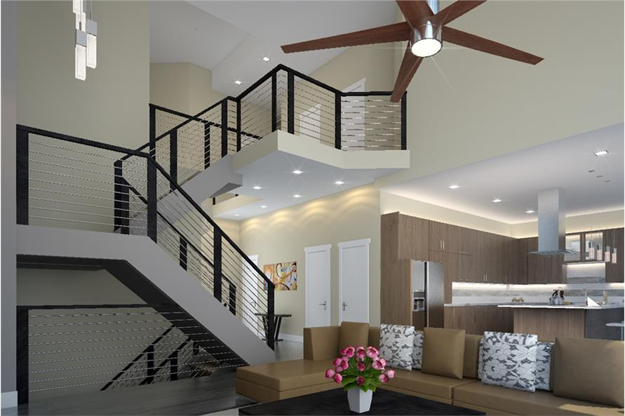 149-1894: Home Plan Rendering-Entry Hall: Staircase