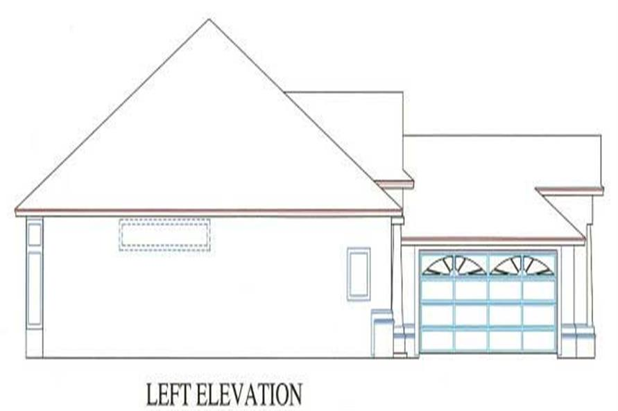 Home Plan Left Elevation of this 3-Bedroom,1784 Sq Ft Plan -150-1000