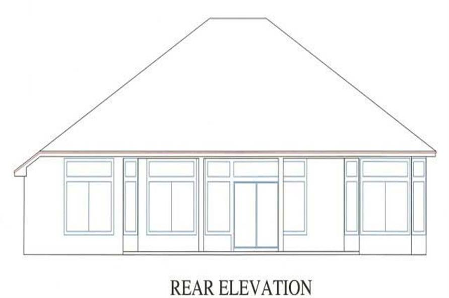 Home Plan Rear Elevation of this 3-Bedroom,1784 Sq Ft Plan -150-1000