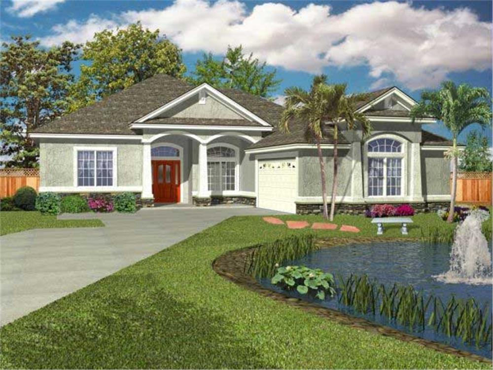 Front elevation of Florida Style home (ThePlanCollection: House Plan #150-1000)
