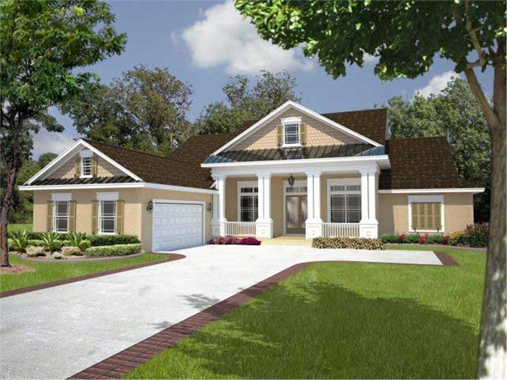 Front elevation of Florida Style home (ThePlanCollection: House Plan #150-1001)
