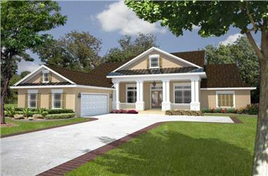 4-Bedroom, 2445 Sq Ft Florida Style House Plan - 150-1001 - Front Exterior