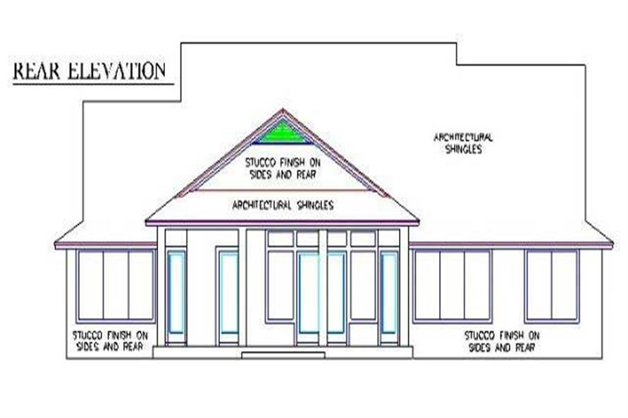 Home Plan Rear Elevation of this 4-Bedroom,2445 Sq Ft Plan -150-1001