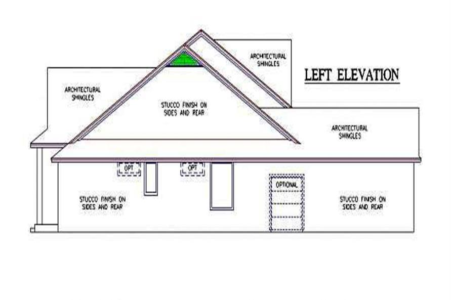Home Plan Left Elevation of this 4-Bedroom,2445 Sq Ft Plan -150-1001