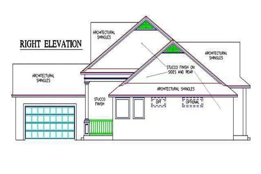 Home Plan Right Elevation of this 4-Bedroom,2445 Sq Ft Plan -150-1001