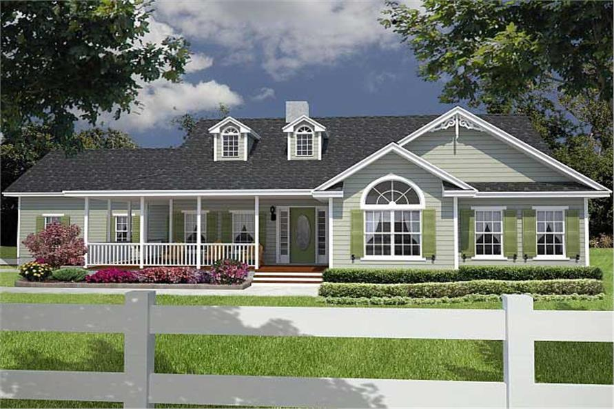 lovely ranch style house plans with front porch #2: Home Plan: #150-1003 front elevation hpbm-1885B House Plan #150-1003