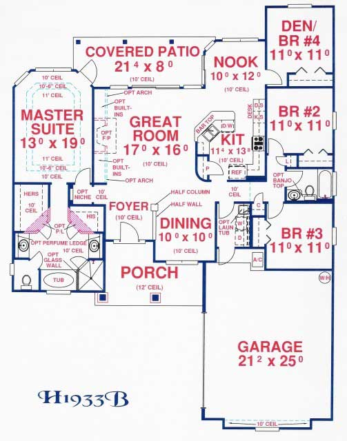 Lovely coastal ranch with porch house plan 26207 House floor plans without garage