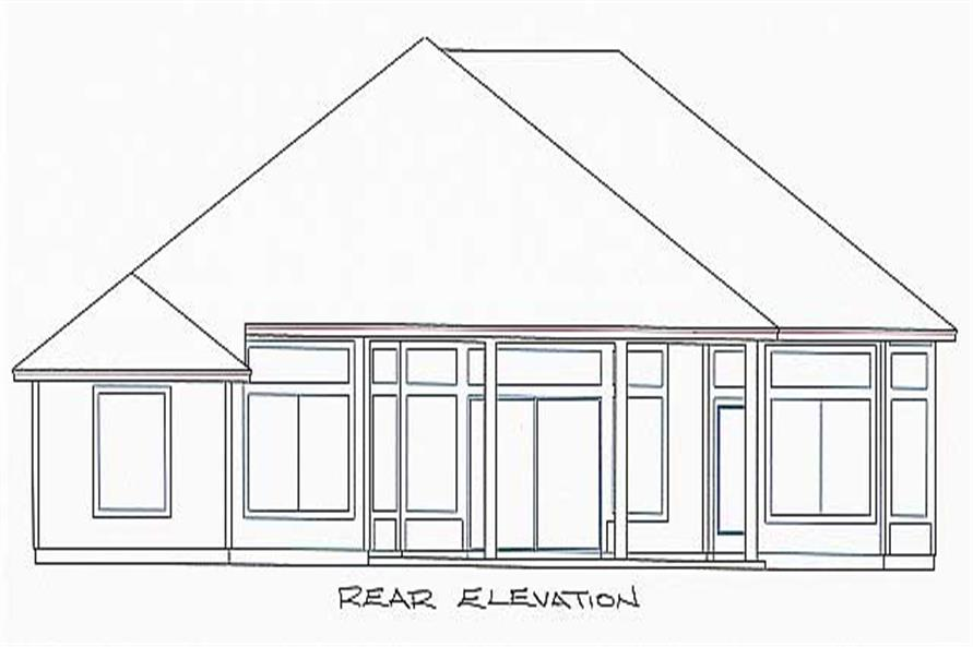 Home Plan Rear Elevation of this 4-Bedroom,1933 Sq Ft Plan -150-1004