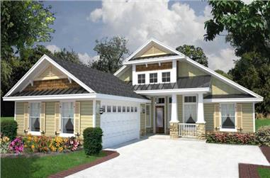 Front elevation of Florida Style home (ThePlanCollection: House Plan #150-1008)