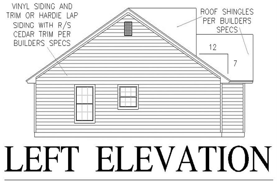 Home Plan Left Elevation of this 3-Bedroom,1458 Sq Ft Plan -150-1011