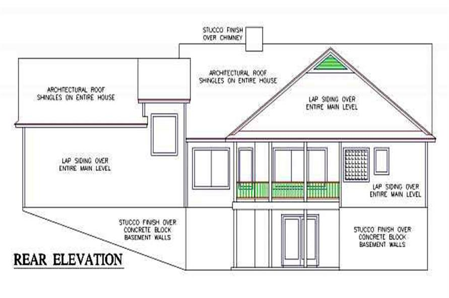 Home Plan Rear Elevation of this 3-Bedroom,1902 Sq Ft Plan -150-1014