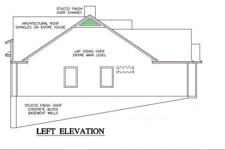 Home Plan Left Elevation of this 3-Bedroom,1902 Sq Ft Plan -150-1014