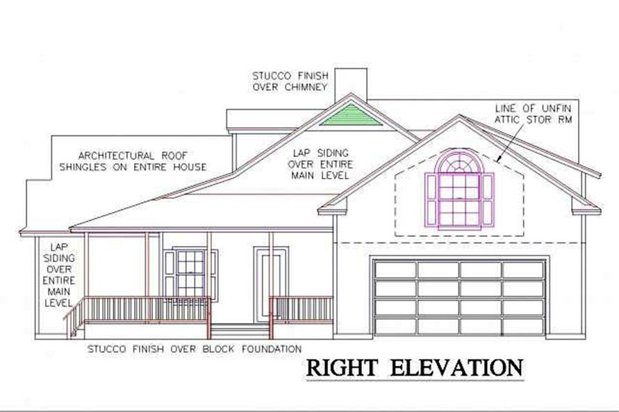 Home Plan Right Elevation of this 3-Bedroom,1902 Sq Ft Plan -150-1014