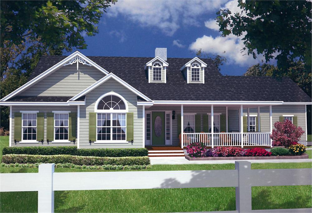 Front elevation of Farmhouse home (ThePlanCollection: House Plan #150-1015)