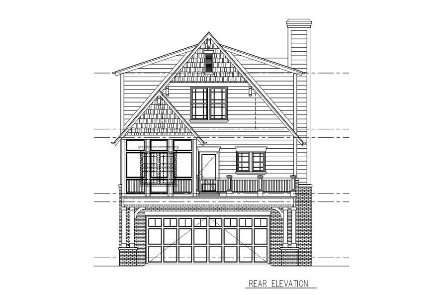 Home Plan Rear Elevation of this 4-Bedroom,2485 Sq Ft Plan -152-1000