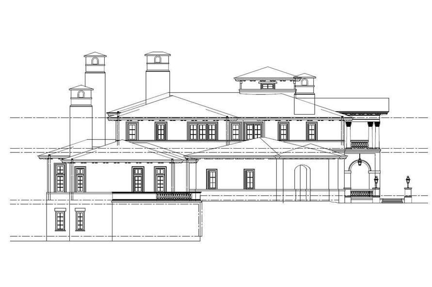 Home Plan Left Elevation of this 8-Bedroom,11580 Sq Ft Plan -152-1001