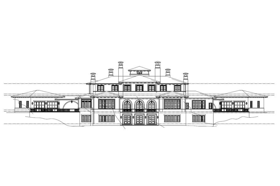 Home Plan Rear Elevation of this 8-Bedroom,11580 Sq Ft Plan -152-1001