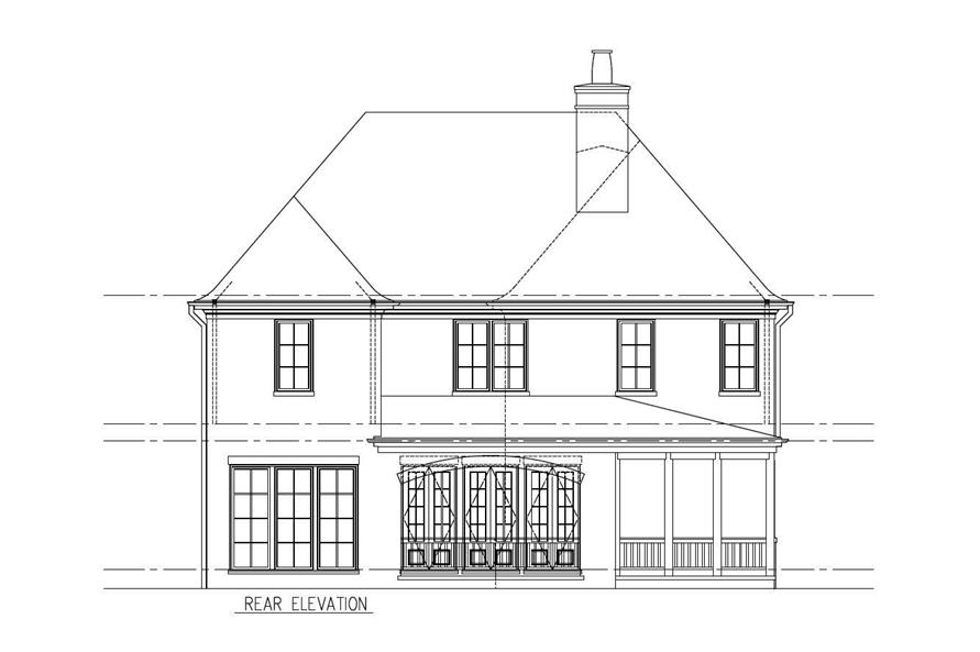 Home Plan Rear Elevation of this 5-Bedroom,3397 Sq Ft Plan -152-1002