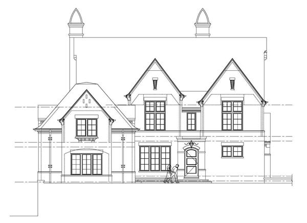 This is the black and white front elevation of these Country Home Plans.