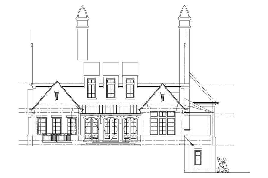 Home Plan Rear Elevation of this 5-Bedroom,4696 Sq Ft Plan -152-1003