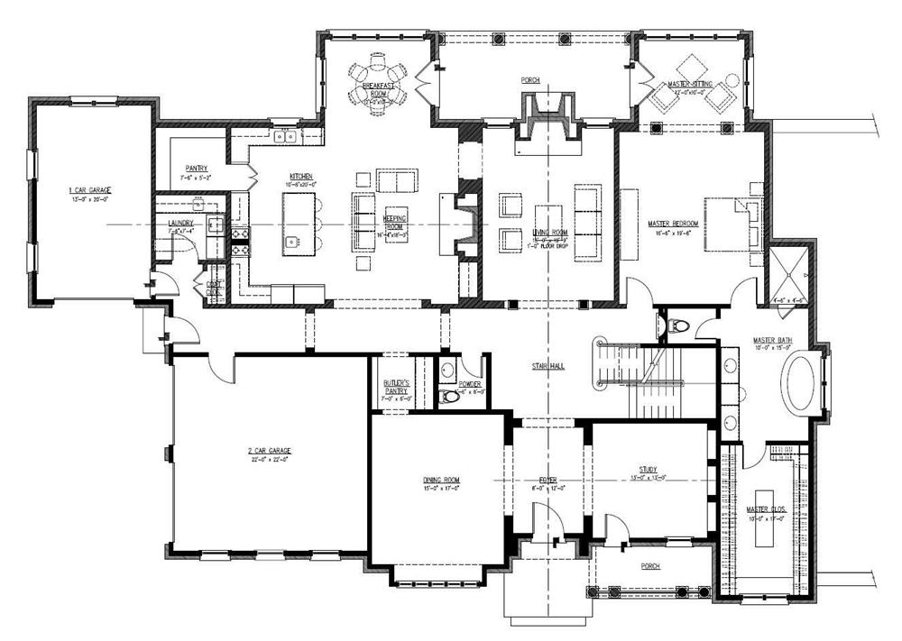 Large images for house plan 152 1004 for Large 1 story house plans