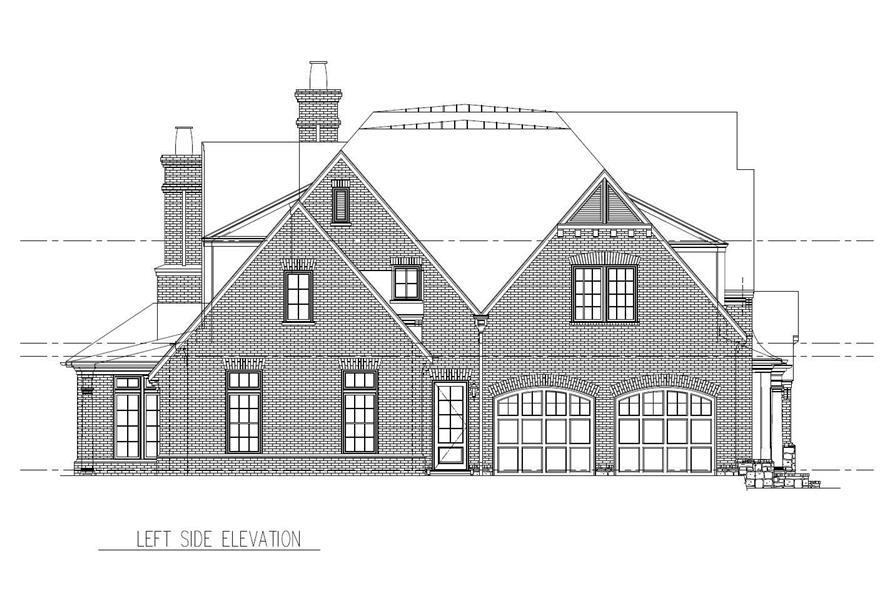 Home Plan Left Elevation of this 5-Bedroom,5559 Sq Ft Plan -152-1004