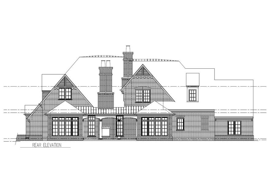 Home Plan Rear Elevation of this 5-Bedroom,5559 Sq Ft Plan -152-1004