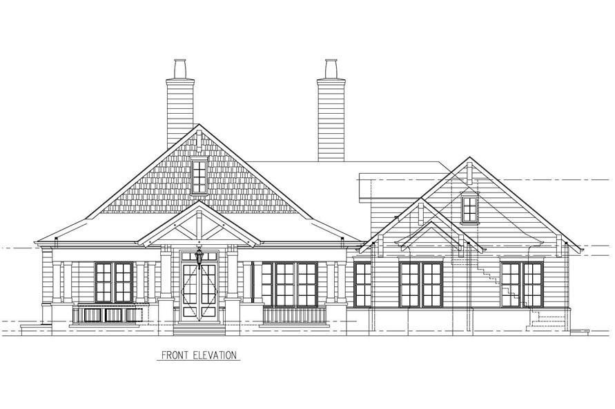 This is the front elevation of these Craftsman House Plans.