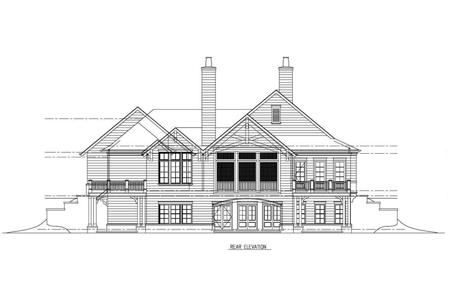 Home Plan Rear Elevation of this 4-Bedroom,3594 Sq Ft Plan -152-1005