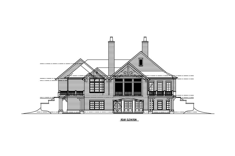 152-1007: Home Plan Rear Elevation