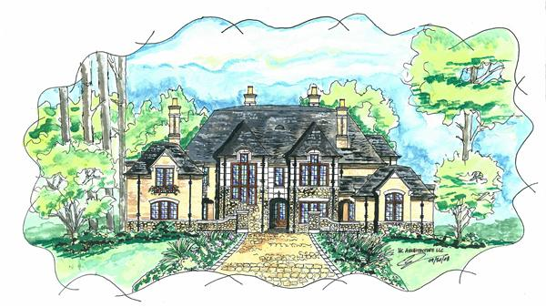 This is a colored rendering of these Luxury Tudor House Plans.