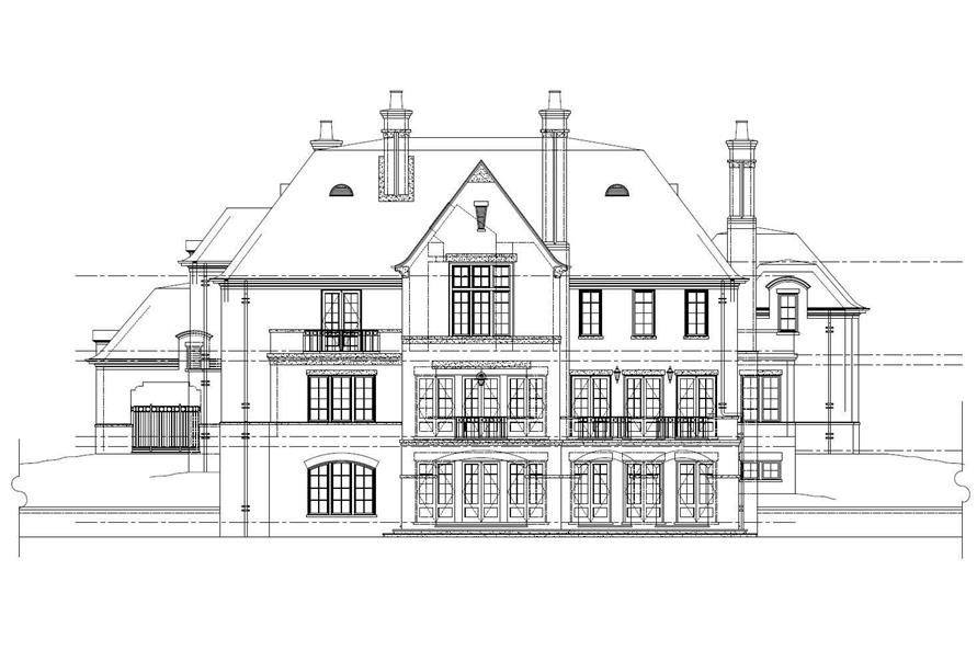Home Plan Rear Elevation of this 4-Bedroom,6870 Sq Ft Plan -152-1009