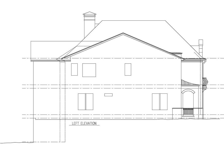 Home Plan Left Elevation of this 5-Bedroom,4253 Sq Ft Plan -152-1010