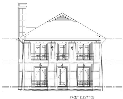 This is a black and white front elevation of these Craftsman Homeplans.