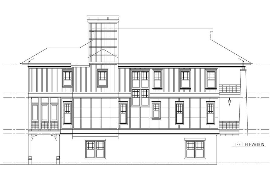 Home Plan Left Elevation of this 5-Bedroom,3263 Sq Ft Plan -152-1011
