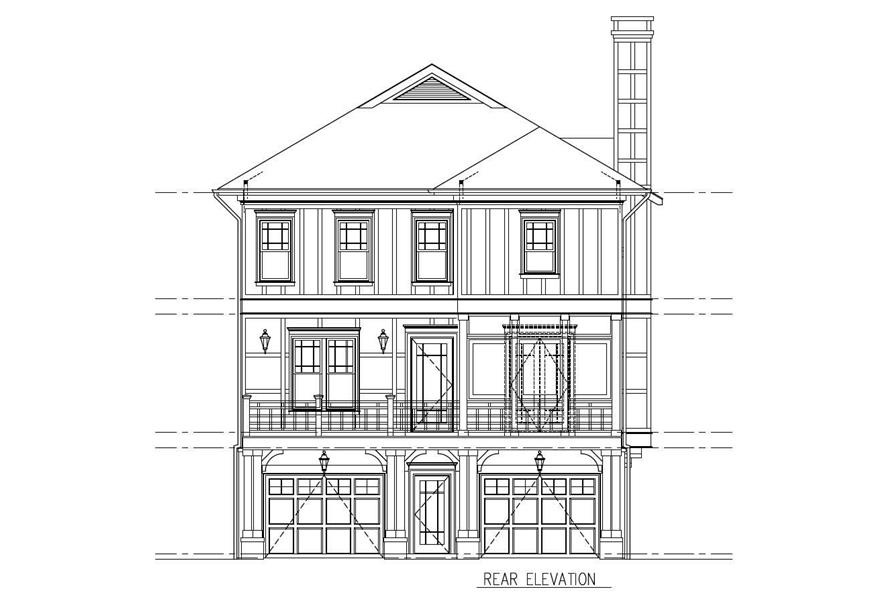 Home Plan Rear Elevation of this 5-Bedroom,3263 Sq Ft Plan -152-1011