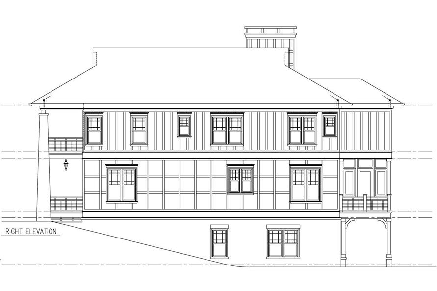 Home Plan Right Elevation of this 5-Bedroom,3263 Sq Ft Plan -152-1011