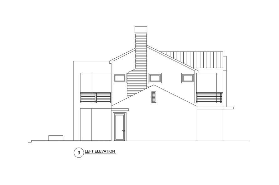 Home Plan Left Elevation of this 3-Bedroom,2864 Sq Ft Plan -152-1012